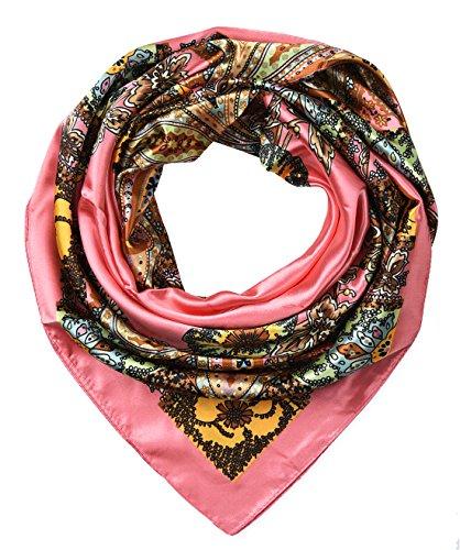 Womem's Silk Feeling Head Scarf Headband for Sleeping 35x35 inches Totem Candy Pink by corciova