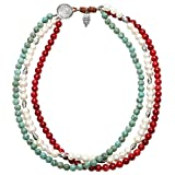 PearlyPearls Freshwater Pearl Necklace with Turquoise Coral Bead Strands Jewelry for Women 20''
