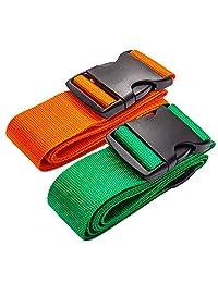 DoGeek Luggage Straps Heavy Duty Travel Luggage Belt 2-Pack Adjustable Travel Suitcase Belt Attachment Accessories(Orange & Green)