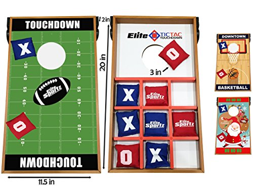 Elite Sportz Junior Bean Bag Toss Game - 2 Games on 1 Board - Tic Tac Toe and Cornhole Party Games for Kids (Football Toss Carnival Game)