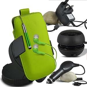 ONX3 Acer Liquid E3 Leather Slip Protective PU de cordón en la bolsa del lanzamiento rápido con Mini capacitivo Stylus Pen retráctil, 3.5mm en auriculares del oído, mini altavoz recargable Cápsula, 360 Rotación del parabrisas del coche horquilla del sostenedor del montaje, Micro USB CE aprobó 3 Pin Cargador, 12v Micro USB cargador de coche (verde)