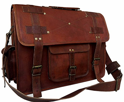 18 Inch Vintage Handmade Leather Messenger Bag For Laptop Briefcase Best Computer Satchel School Distressed Bag by VINTAGE COUTURE