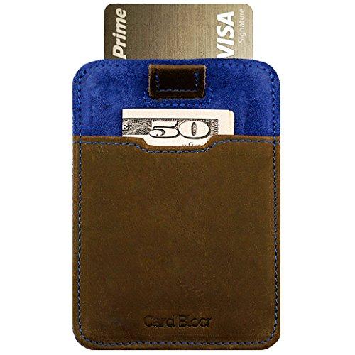 Card Blocr Pull Tab Wallet Slim Minimalist RFID Blocking Credit Card Wallet (Brown Leather & Blue Suede)