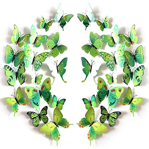 JYPHM 24PCS Butterfly Wall Decal Removable Refrigerator Magnets Mural Stickers 3D Wall Stickers for Kids Home Room Nursery Decoration Wall Art Green