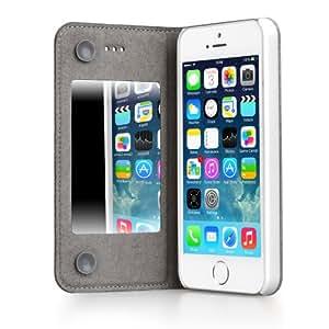 GGMM Beso-M de cuero en folio con el espejo para el iPhone 5 / 5S Blanca