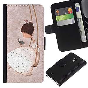 For Samsung Galaxy S4 Mini i9190 MINI VERSION!,S-type® Girl Swing Pink Deep Thought Emo Book - Dibujo PU billetera de cuero Funda Case Caso de la piel de la bolsa protectora