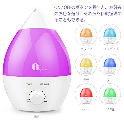 1byone加湿器超音波式クールミスト1.3L卓上加湿器アロマディフューザー7色変換LEDムードランプ静音設計抗菌空焚き防止機能搭載ミストの出力調整可能
