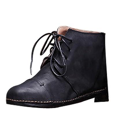 Vogstyle Damen Handgemachte Herbst Winter Martens Booties Stiefel