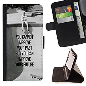 King Air - Premium PU Leather Wallet Case with Card Slots, Cash Compartment and Detachable Wrist Strap FOR Sony Xperia Z1 C6902 C6903 C6906- You can not improve your past but you can improve your future