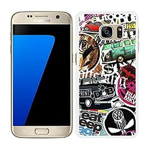 FUNDA CARCASA PARA SAMSUNG Galaxy S7 Edge STICKER BOMB 5 BORDE BLANCO