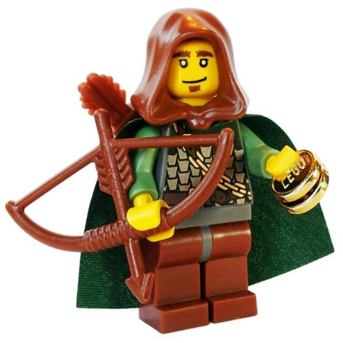 Robin Hood - LEGO Kingdoms Castle Minifigure (Elf) with Cape & Hood, Bow, Arrow Quiver and Gold Pieces