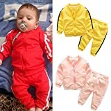 Fheaven Baby Girls Boys Outfits Striped Long Sleeve Tops Coat with Pocket + Pants Clothes Set 2 Pcs (12-18 Months, Red)