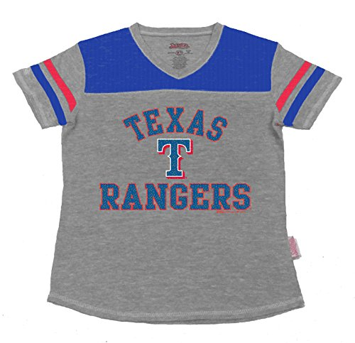 MLB Texas Rangers Girl's V-Neck Jersey Top, Grey, Large