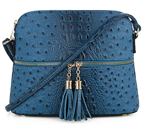 - SG SUGU Crocodile Pattern Lightweight Medium Dome Crossbody Bag with Tassel | PEC