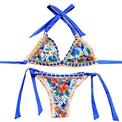 Sherry007 Sexy Handmade Crochet Bikini Swimsuit Triangle Swimwear Bathing Suit