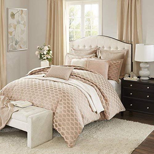 - Madison Park Signature Romance King Size Bed Comforter Duvet 2-In-1 Set Bed In A Bag - Pink Blush , Jacquard - 9 Piece Bedding Sets - Ultra Soft Microfiber Bedroom Comforters