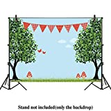 Allenjoy 7x5ft Kids Picnic Party Backdrop for Photography Spring Green Forest Park Tree Girl Happy Birthday Decor Decoration Pictures Background Supplies Photo Studio Props Drop Baby Shower