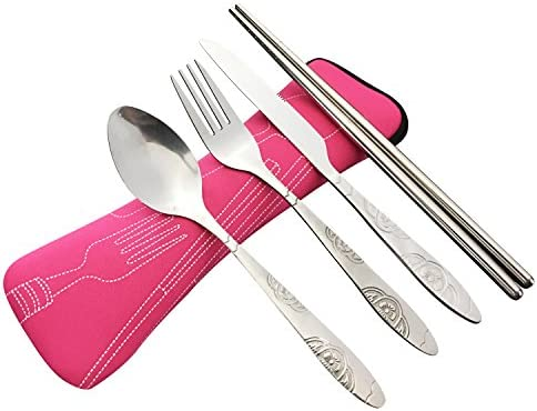 4 piezas de acero inoxidable (cuchillo, tenedor, cuchara, palillos), cubiertos de viaje / camping conjunto con estuche de neopreno (rosa(4 piezas)): Amazon.es: Deportes y aire libre