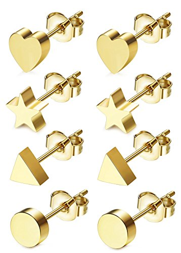 JOERICA 4 Pairs Heart Stainless Steel Stud Earrings for Women Girls Star Earrings Golden-tone