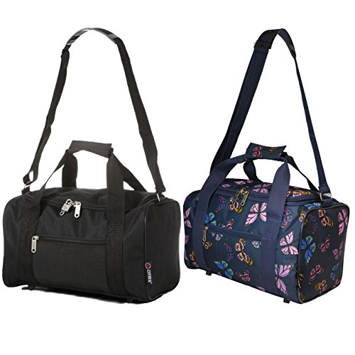 5 Cities Small 35 x 20 x 20 cm Ryanair Second Cabin Hand Luggage Holdall Flight Bag, Set of 2 (Black + Butterflies Navy)