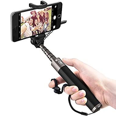 TaoTronics Wired Selfie Stick Aluminum Monopod for iPhones and Android Phones - Black