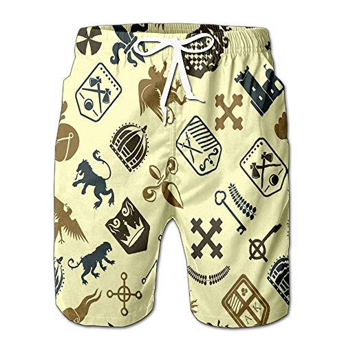 Summer Shorts Pants Heraldic Lion Royal Crest Medieval Knight Silhouette Vintage King Symbol Heraldry Mens Golf Sports Shorts XXL