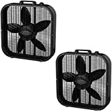 Lasko 3 Speed Save Smart 20 Inch Box Fan with Easy Carry Handle, Black (2 Pack)