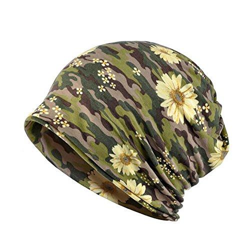 Lamdgbway Baggy Camo Beanie Hat Stretch Cotton Chemo Turban Scarf Flower Army - Stretch Cap Camo