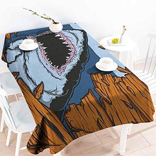 EwaskyOnline Water Resistant Table Cloth,Shark Wild Fish Breaking Wooden Plank Danger Sign Killer Creature Fun Illustration,High-end Durable Creative Home,W60X90L, Ginger Dark Blue]()