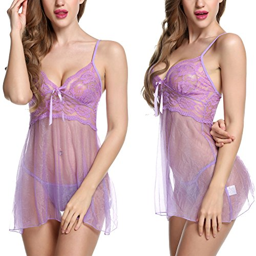 Avidlove Women Babydoll Lingerie Sleepwear Lace Chemises Outfit Purple Small