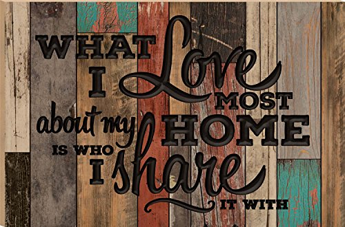 What I Love Most About My Home Is Who I Share It With Multicolor 23.75 x 35.9 Faux Distressed Wood Barn Board Wall Mounted Sign by P Graham Dunn