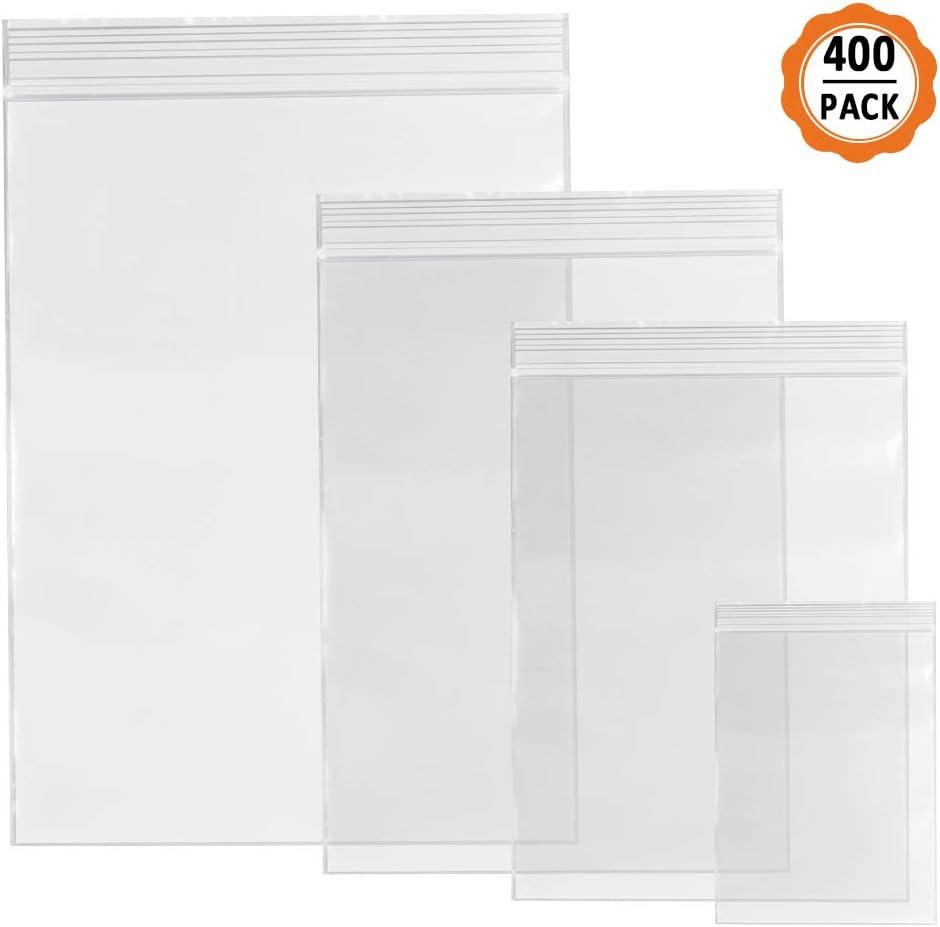 400pcs Bolsas de Plastico Pequeñas Bolsas Zip,Bolsas Pequeñas con Cierre Bolsas Hermeticas para Comida la Joyería Bolsa (4 Tamaños)
