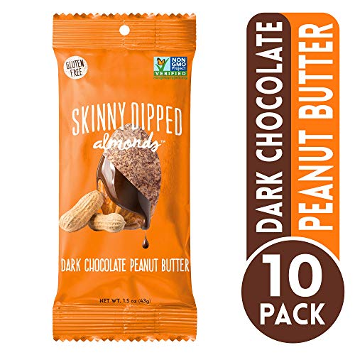 - Dark Chocolate Covered Almonds, Peanut Butter by Skinny Dipped Almonds, Gluten Free, Low Sugar Snacks, 1.5 oz bag, Pack of 10
