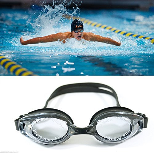 Lane 4 Swim Shop (Black UV Protection Anti Fog Swimming Swim Goggle Glasses Adjustable Competition)