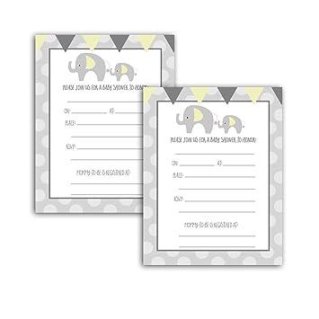 Amazon Yellow And Gray Elephant Baby Shower Invitation Cards