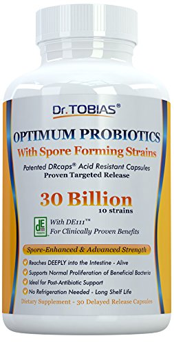 Probiotic Advanced 30 Adults Capsules - Dr. Tobias Probiotics: 30 Billion with Delay Release & Spore Forming Strains - Probiotic Supplement for Post-Antibiotic, Health & Immune Support Manufacturer: Dr. Tobias