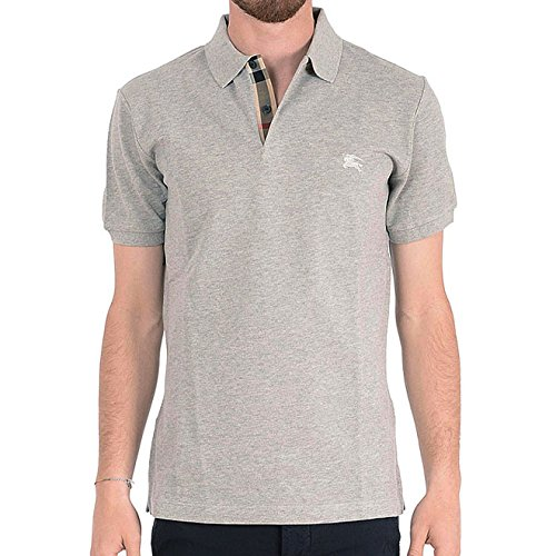Burberry Brit Men's Gray Check Cotton Pique Logo Slim Fit Polo T-shirt - Logo Brit Burberry