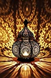Moroccan Vintage Lantern Lights Lamp Ziva 30cm Black Large | Oriental Garden Outdoor Hanging Lanterns for Candles as Decorations | Arabian Indoor Candle Tea Light Holders as Indian Party Home Decor