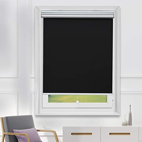 Amazon Com Roller Shades Pull Down Blackout Shades Cordless Window Blinds With Spring System Thermal Shades For Bedroom Office 23x72 Black Kitchen Dining