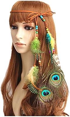 Disfraz de pluma de pavo real de Bohemia Indio Nativo Americano ...