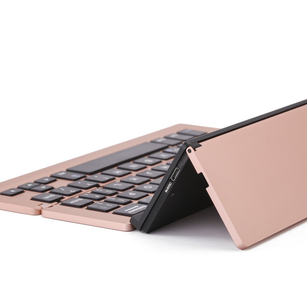Lucky2Buy Foldable Portable Bluetooth Wireless Keyboard with Kickstand Holder For iPhone, iPad, Andriod Smartphone and Windows Tablet - Rose Gold by Lucky2Buy (Image #8)
