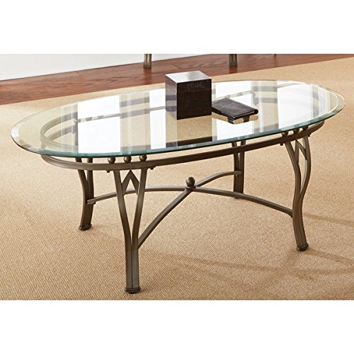 Modern & Contemporary Clay Alder Home Academy Glass-top Metal Oval Powder Coated Coffee (Alder Table)