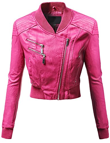 Awesome21 Varsity Letterman Neckline Crop Bike Rider Faux Leather Jackets Fuschia Size M
