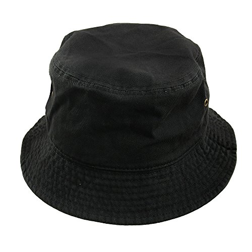 Men Women Unisex Cotton Bucket Hat (Large/X-Large, Black)