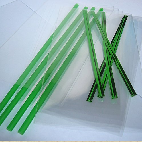 50pcs 6'' Green Plastic Lollipop Sticks + 50 Bags + 50 Metallic Green Twist Ties by Weststone
