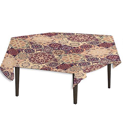 (DouglasHill Moroccan Washable Tablecloth Grid Style Ornate Ceramic Style Tile Orient Vintage Inspirations Dinner Picnic Home Decor W70 x L70 Inch Maroon Pale Orange Dark Blue)