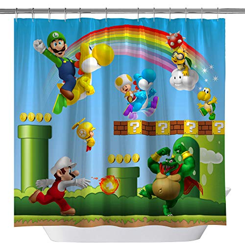 GOODCARE Super Mary Shower Curtains, Printing Children Cartoon Shower Curtains, Mildew Resistant Waterproof Polyester Fabric Shower Curtain Including 12 Free Hooks, 71 x 71 inch