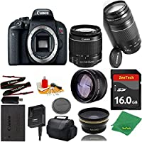 Great Value Bundle for T7I DSLR – 18-55mm STM + 75-300mm III + 16GB Memory + Wide Angle + Telephoto Lens + Case