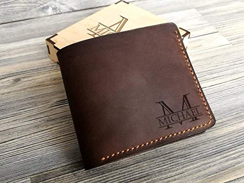 Personalized Leather Wallet Groomsmen Gift Box Leather Gift for Him Mens Wallet Custom Gift for Men Gift for Dad Bifold Wallet For Men Engraved Gift Box (Leather Engraved Personalized)