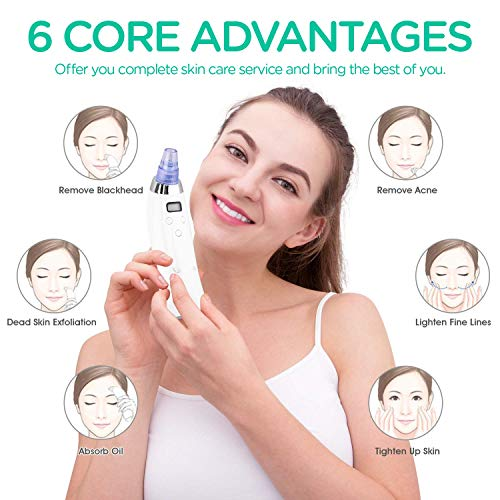 VOYOR Blackhead Remover Vacuum Suction Facial Pore Cleaner Electric Acne Comedone Extractor Kit with 4 Replacement Head & LCD Screen for Women and Men Black Heads Extraction BR610